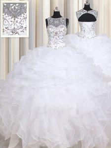 Wonderful White Lace Up Straps Beading and Ruffles 15th Birthday Dress Organza Sleeveless