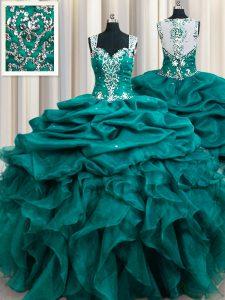 Top Selling Pick Ups Straps Sleeveless Zipper 15th Birthday Dress Teal Organza