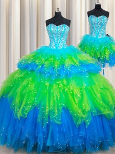 Three Piece Multi-color Sleeveless Beading and Ruffled Layers Floor Length Sweet 16 Dress