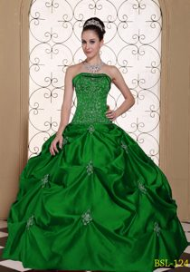 Charming Embroidered Lace-up Green Dress for Quince with Pick-ups