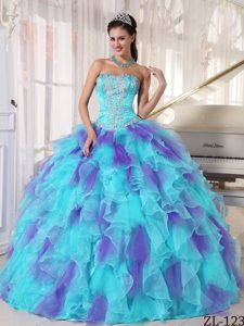 Beautiful Strapless Lace-up Lace-up Sweet 15 Dress in Light Blue and Purple