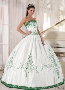 Gorgeous Strapless Long Satin Embroidered Quinceanera Gown Dress