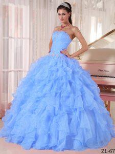 Beautiful Strapless Long Beaded Organza Sweet 15 Dress in Light Blue
