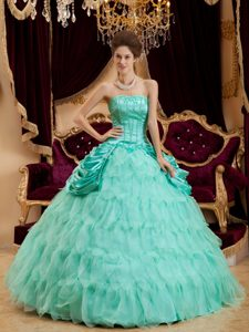 Ruffled and Organza Quinceaneras Dress in Apple Green with Strapless