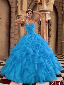 Sweetheart Organza Sweet Sixteen Dresses with Beads and Ruffles in Aqua Blue