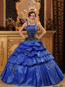Popular Appliqued Royal Blue Quinces Dresses with Spaghetti Straps in