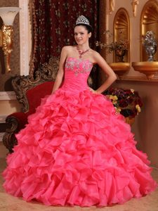 Hot Pink Appliqued Dress for Quinceanera with Ruffles in Organza for Spring