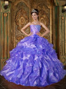Blue Ball Gown Low Price Dresses for Quinceanera with Beading and Ruffles