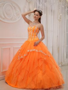 Appliqued Organza Ball Gown Dresses for Quince in Orange on Promotion