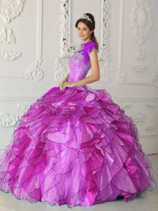 Strapless Satin and Organza Sweet Sixteen Dresses for Cheap with Beading