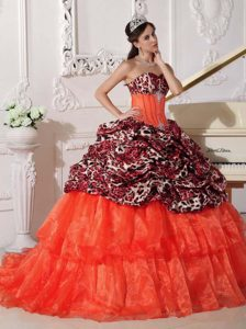 Ball Gown Sweetheart Sweet 16 Dresses for Wholesale Price in Orange Red