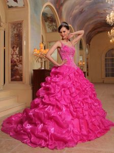 Custom Made Hot Pink Spaghetti Straps Sweet 17 Dresses with Embroidery