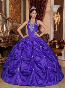 Ball Gown Halter Top Appliqued Cheap Quinceanera Dress in Purple