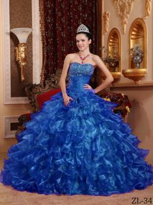 Blue Ball Gown Strapless Organza Sweet Sixteen Dress for Cheap with Beading
