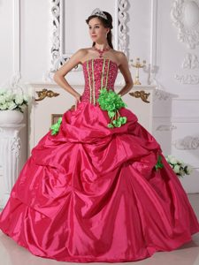 Custom Made Ball Gown Strapless Beaded Sweet 17 Dress in Coral Red