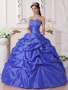 Cheap Sweetheart Long Blue Quinceanera Dress with Beading