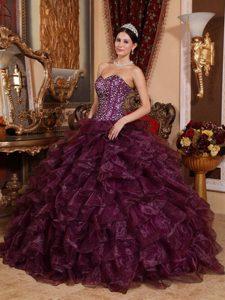Sweetheart Long Sequined Organza Quinces Dresses in Dark Purple