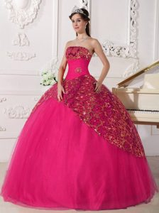 Red Ball Gown Strapless Lovely Sweet 16 Dresses with Beading and Ruching