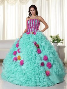 Baby Blue Strapless Long Low Price Quinceaneras Dresses in Organza