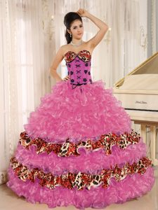 Hot Pink Sweetheart Leopard Quinceanera Dress with Layered Ruffles for Cheap