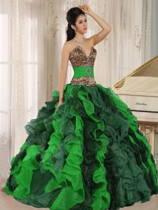 V-neck Multi-colored Leopard Quinceanera Dresses with Beading and Ruffles
