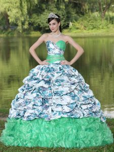 Chic Multi-colored Sweetheart Ruched Ruffled Quinceanera Dress with Pick-ups