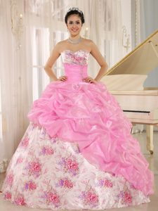 Baby Pink Printed Sweetheart Dresses for Quince with Pick-ups and Beading