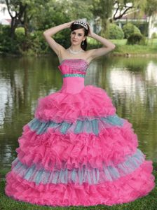 Multi-colored Strapless Organza Beaded Sweet 16 Dress with Layered Ruffles