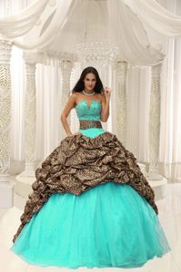 Slot Neckline Turquoise and Leopard Quinceanera Dress with Pick-ups on Sale