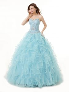 Light Blue Organza Lace Up Sweetheart Sleeveless Floor Length Sweet 16 Dress Beading and Ruffles