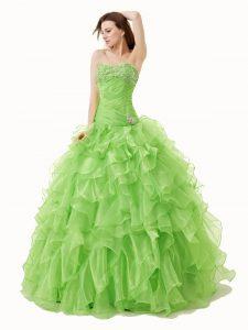 Floor Length Sweet 16 Quinceanera Dress Organza Sleeveless Beading and Ruffles