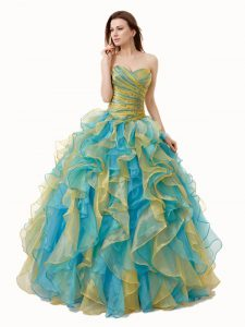 Dazzling Sleeveless Lace Up Floor Length Beading and Ruffles and Ruching Quinceanera Dress
