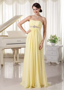 New Arrival Light Yellow Chiffon Beaded Celebrity Dress with Lace-up Back