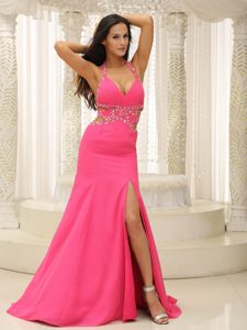 Elegant Halter Top Beaded Coral Red Celebrity Dress for Prom with High Slit