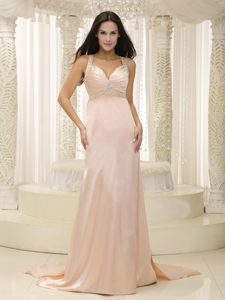 Baby Pink Elastic Woven Satin Ruched Luxurious Celebrities Dress for Less