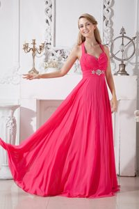 Hot Pink Halter Top Beaded Romantic Celeb Dress for Less with Brush Train