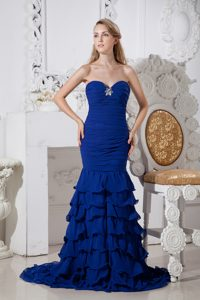 Royal Blue Mermaid Ruffled Best Seller Spring Celebrity Dresses for Prom