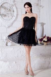 Exquisite Black A-line Zipper-up Beaded Little Black Celeb Dresses for Less