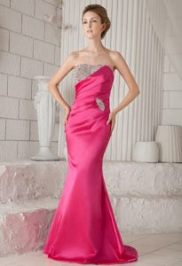 Impressive Strapless Hot Pink Mermaid Betty Celebrity Dress with Beading