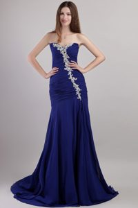 2012 Best Seller Blue Ruched Lace-up Betty Celebrity Dress with Appliques