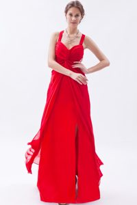 Classical Ankle-length High Slit Red Chiffon Betty Celebrity Dress with Straps