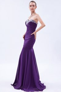 Popular Purple Mermaid Beaded and Ruched Chiffon Celebrity Dress for Prom