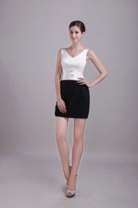 White and Black V-neck Satin Wonderful Celebrity Inspired Dress for Fall