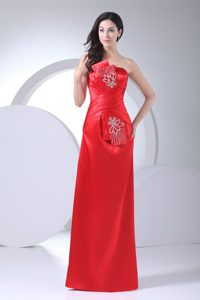 Fast Shipping Strapless Ruched and Beaded Satin Evening Celebrity Dresses in Red