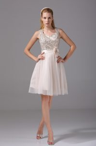 Knee-length Tulle Champagne Evening Celebrity Dresses with Beadings and Flower