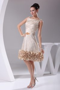 Satin Scoop Princess Dresses for Celebrity with Sash Lace Flowers and Ruffled Edge