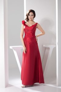 Handmade Flowers Decorated Ankle-length Sheath Celebrity Party Dresses in Red