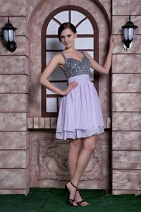 Lilac A-line Spaghetti Straps Knee-length Evening Dresses for Celebrity with Beading
