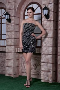 Sequins and Beading Decorated Mini-length Celebrity Party Dresses in Black Column
