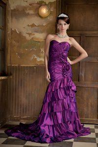 Purple Mermaid Sweetheart Brush Train Celebrity Dresses with Flowers and Ruffles